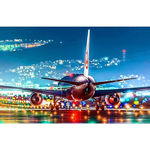 baodanla Geen lijst olieverfschilderij vliegtuigen olieverfschilderij nachtzicht olieschilderij pasta mozaïek