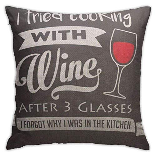 mallcentral-EU Kissenbezüge werfen, Kissenbezüge schwarz Ich Habe versucht, mit Wein zu Kochen, nachdem 3 Gläser vergessen Hatten, Warum in der Redewendung Zeichnung auf Taschen war
