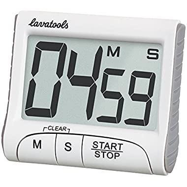 Lavatools KT1 Digital Kitchen Timer & Stopwatch, Large Digits, Loud Alarm, Magnetic Stand (White)