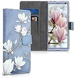 kwmobile Sony Xperia 10 Hülle - Kunstleder Wallet Case für Sony Xperia 10 mit Kartenfächern & Stand - Magnolien Design Taupe Weiß Blaugrau