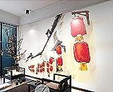 Papel pintado rojo de la línea de la linterna china para el mural de la decoración de la pared de la...