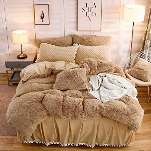 LIFEREVO Luxury Plush Shaggy Duvet Cover Set (1 Faux Fur Duvet Cover + 2 Pompoms Fringe Pillow Shams) Solid, Zipper Closure (King Camel)