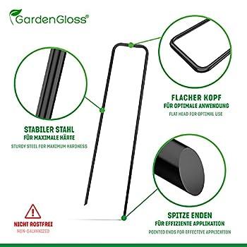 GardenGloss Piquets de Fixation en Acier (25 Pièces) - pour Toiles de Paillages et de Jardinage, Grillage et Filets - 150 mm de Long, 25 mm de Large, Ø 2.7 mm