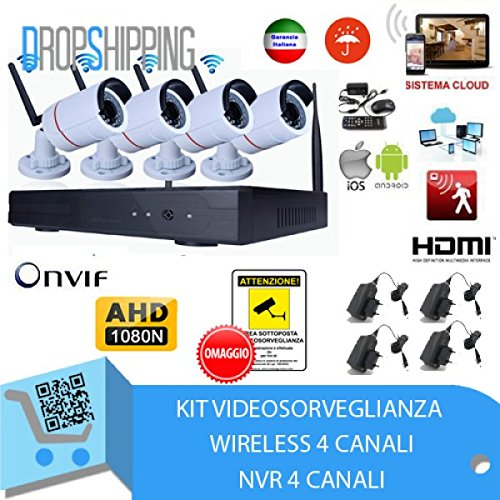 GENERAL TRADERS - Kit Videosorveglianza Wireless Full HD IP, 4...