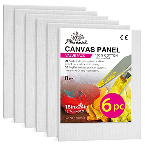 Painting Canvas Panels - 18x24 Inch / 6 Pack