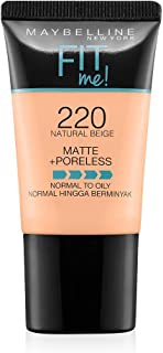 Maybelline New York New York New York Fit Me Matte Plus Poreless Foundation Cream, 18 ml - 220 Natural Beige