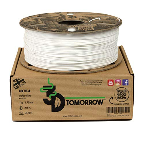 3DTomorrow UK PLA Filament - Traffic White - 1.75mm, 1kg, 100% Recyclable Cardboard Spool Eco Friendly 3D Printer Filament, Made in the UK