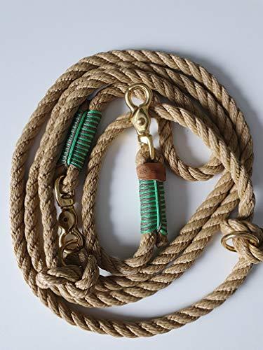 Hundeleine Seil 250cm Natur/Sand-Mint Duo/Messing