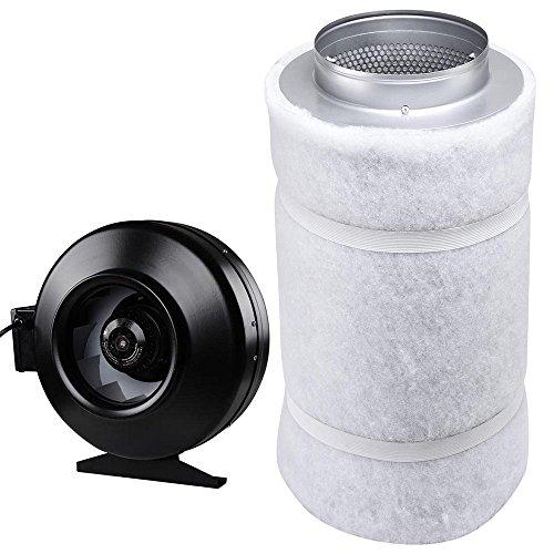 Yescom 8' 720CFM Inline Fan Air Blower & Carbon Filter Scrubber Set Hydroponic Odor Control Air Ventilation