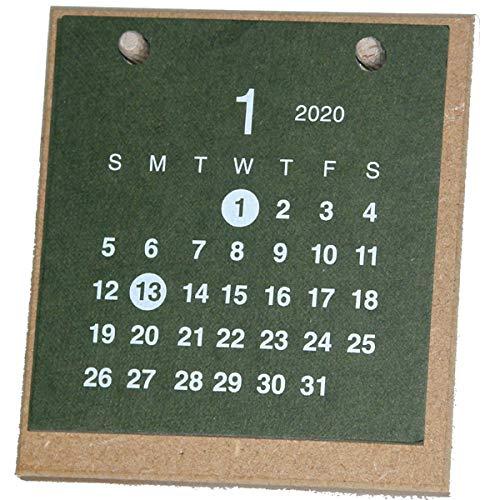 【2020年版】卓上カレンダー 1月始まり クラフト MDF グリーン