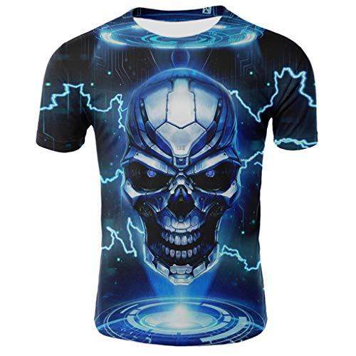 Yowablo T-Shirts Tee Homme Manches Courtes à Impression numérique créative 3D d'été (S,20 Bleu)