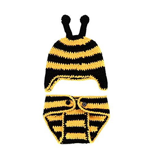 DELEY Unisexe Bébé de Bande de Honey Bee Costume de Bébé de Vêtements Tenue Chapeau Costume de Pantalon de Photo Accessoires de 0 à 6 Mois