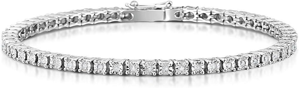 Gold gala bracciale tennis in argento 925 rodiato con zirconi bianchi taglio diamante BTB