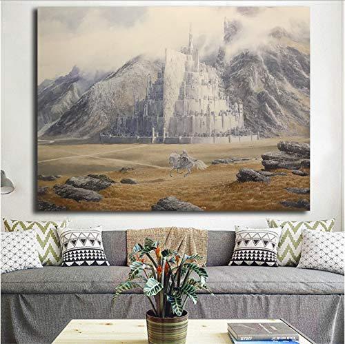 yhnjikl Le Seigneur des Anneaux Gandalf Promenades À Minas Tirith par Alan Lee Art Toile Affiche Peinture Mur Photo Imprimer Home Bedroom Decor HD 40X50Cm sans Cadre