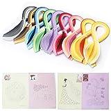 Set de 900 tiras de papel de filigrana de 5 mm de ancho y 39 cm de largo, 45 colores, con ...