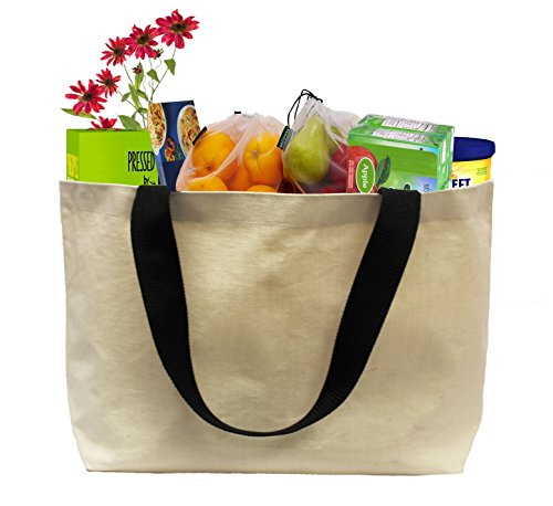 Earthwise Reusable Grocery Bag Beach Shopping Tote Extra Large Heavy Duty 12 oz Cotton Canvas Multi Purpose 20 inches x 14 inches Proudly Made in the USA (Natural)