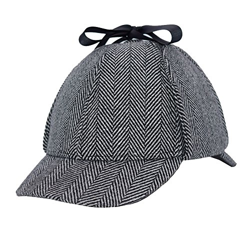 Sherlock Holmes Hat,Deerstalker Hat Classic Cos Play for Adults and Children, Grey, Large
