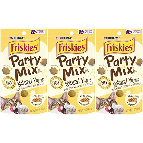 3 Bags of Friskies Party Mix Natural YUMS with Real Chicken Cat Treats, 2.1-oz ea