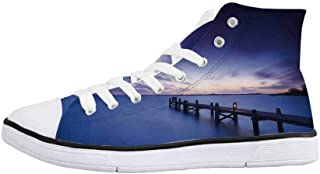 Art Comfortable High Top Canvas ShoesOld Wooden Deck in Storm with Waves in The Sea Dramatic Sky with Dark Heavy Clouds Print for Women Girls,US 5