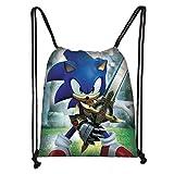 LINGJIA Sonic Figuras Juguetes Anime Sonic Bolso con Cordón Niños Niñas Dibujos Animados Mochila Adolescente Bolsas De Almacenamiento Niños Mochila Niños Bolsas De Viaje