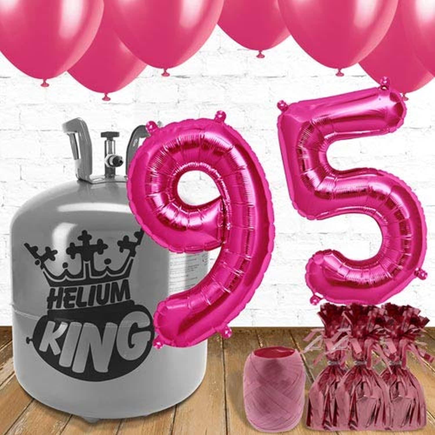 95th Birthday Pink Balloons and helium gas package