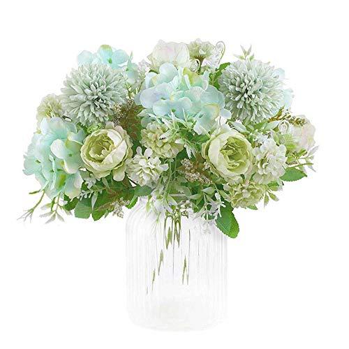 KIRIFLY flores artificiales, ramo de hortensias falsas de peonía de seda, decoración de claveles de plástico, arreglos de flores realistas, decoración de bodas, centros de mesa, 2 paquetes