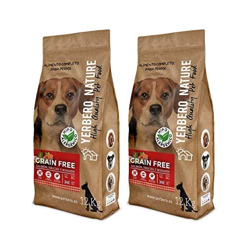 YERBERO Nature Grain Free salmón/Trucha 2 uds de 12 kg de Comida para Perros SIN Cereales.