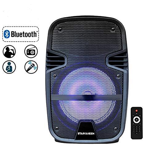 Starqueen 8 Inch Bluethooth PA Speaker System, Battery Powered Rechargeable Karaoke Loudspeaker...