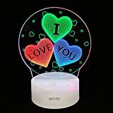 3D Night Light I Love You Leeter Illusion Lamp Visual Table Lamp Dynamic Touch LED Three Colorful Creative Gift Bedroom Xmas Chirstmas Festival Birthday Valentines Day Loversrs Gift Desk Lamp