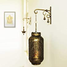 Sadhubela's Burni Diya Lantern with Hanger - Handcrafted Antique Golden Polished Spiritual Wall Decor Piece