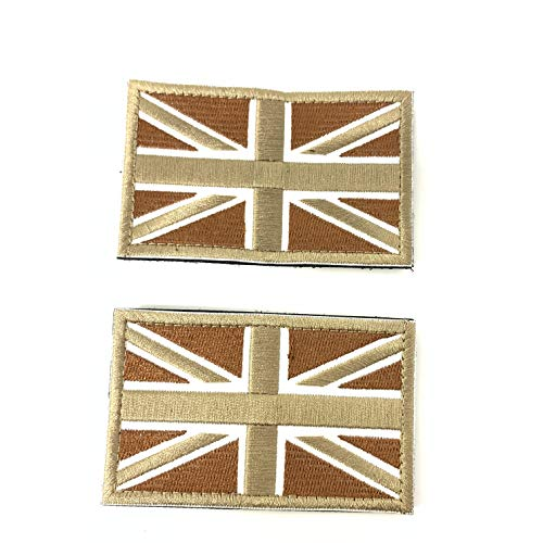 2cerotti Velcro X Regno Unito inghilterra emblema Gran bretagna Bandiera tattico Bandiera con Velcro potrebbe Essere adeso alla finestrella vestiti, gilet, cappello, zaino direttamente Tan