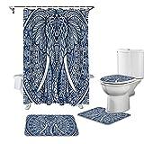 CKKHYCD 3D Duschvorhang Set Mandala Muster Elefant blau WC-Bezug Abdeckung Bad rutschfeste Matte Bodenmatte