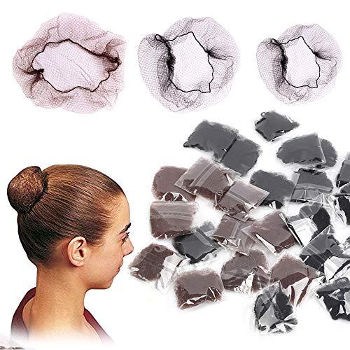 FOGAWA 30 Stück Haarnetze Unsichtbar Elastische Haarnetz für Balletttanz Haar Netze Dutt Schwarz Braun 20 Zoll Haarnetz Rand Kante Mesh für Perücke Haarfixierung Ballett Tänzer Haarknoten