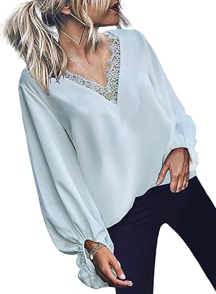 Womens V Neck Chiffon Blouses Casual Balloon Sleeve Floral Print Shirts Tops