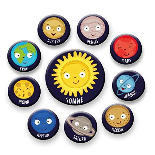 Polarkind 10er dekoratives Magnet Set Sonnensystem Planeten Weltall Universum Lernen für Kühlschrank Whiteboard Magnettafel Kinderzimmer Deko