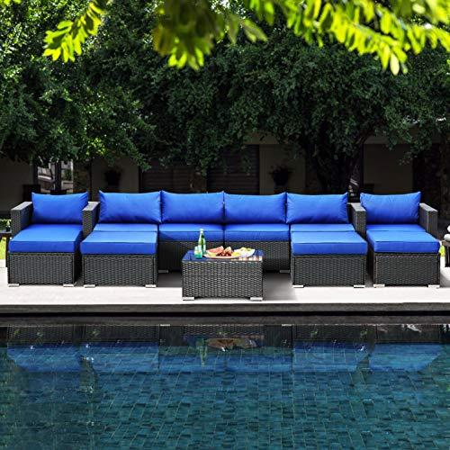 Patio Furniture Sofa Garden Couch Set 8-Piece PE Brown Rattan Sofa Outdoor Sectional Sofa Deck Conversation Furniture Set with Royal Blue Cushion