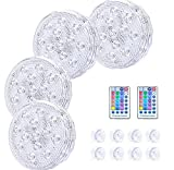 ShinePick Submersible LED Lights, 16 Colors Pool Lights for Inground Pool with RF Remote, Swimming Pool Lights with Suction Cup, Full Waterproof Underwater Lights for Aquarium Pond Bathtub (4pack)