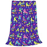 Tawetori Colorful Roller Skate Blanket Soft Throw Blanket Lightweight Flannel Blanket Queen Size for Sofa Couch Bed Office Travel Camping 60'X50'