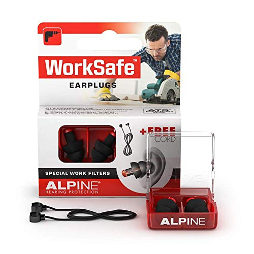Alpine WorkSafe Ear Plugs - Hearing Protection for DIY and Work - Work Ear Plugs - Free Safety Cord - Comfortable Hypoallergenic Material - Reusable earplugs