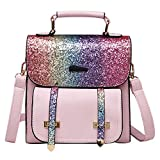 Fanspack Womens Glitter Backpack Fashion Daypack Top Handle Backpack for Teen Girl
