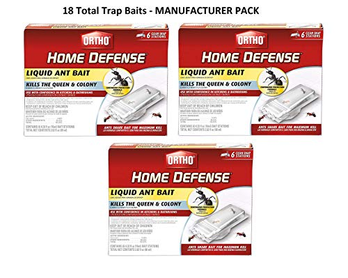 Ortho Home Defense Liquid Ant Bait Clean Snap Station Traps- Includes 3 Packs of 6 - Total of 18 Clean Snap Stations - Kills Queen and Colony