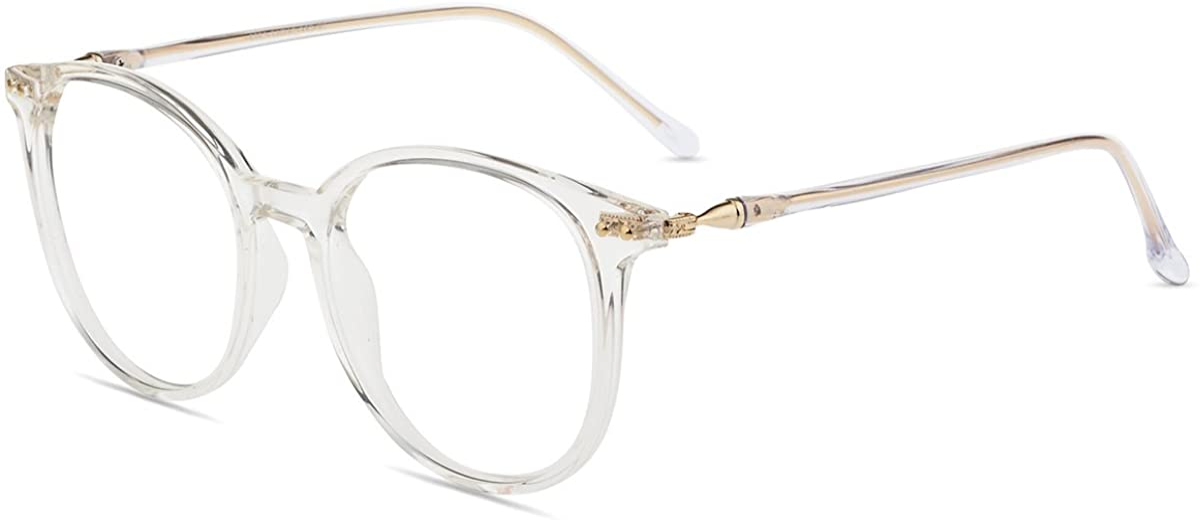 Firmoo Gafas Luz Azul para Mujer Hombre, Gafas Filtro Antifatiga Anti-luz Azul y Gafas Bloqueo Luz Azul contra UV400 Ordenador de Gafas Redondo Clásico Montura TR90