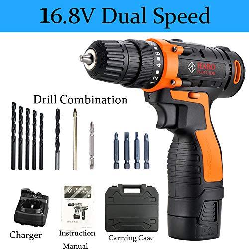 F-JX Akkuschrauber Combi Drill & Bit Set Elektronischer Schraubenzieher, Quick Change Batterie, für Home Improvement & DIY-Projekt,B1