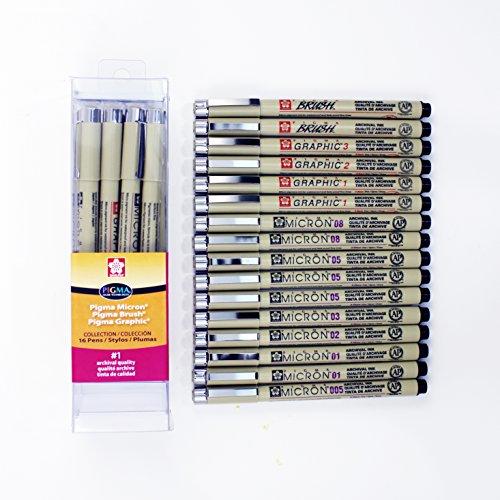 Sakura 50076 16-Piece Pigma All Black Cube Collection Pen Set
