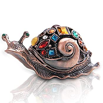 Crystals Bejeweled Trinket Box Hand-Painted Brown Snail Animal Figurine Hinged Jewelry Box Collectible for Women