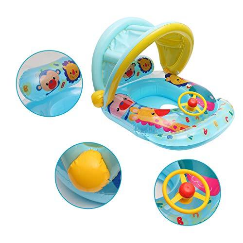DRAKE18 Bote de Piscina Inflable con Dosel Asiento de Piscina para bebé Entrenador de natación con Volante y bocina para niños niñas Verano Fiesta en la Playa al Aire Libre