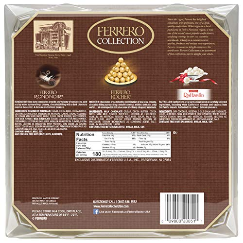 Product Image 5: Ferrero Rocher Collection, Fine Hazelnut Milk Chocolates, 24 Count, Valentine's Day Gift Box, Assorted Coconut Candy and Chocolates, 9.1 oz