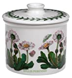 Botanic Garden drum-shaped lidded sugar bowl, 3-1/4 inches in diameter Crafted from high-quality earthenware with vivid glazes Hand decorated with blossoms, laurel leaves, and butterflies Safe in microwave, freezer, and dishwasher; oven-safe to 340 d...