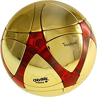 Calvin's Puzzles Traiphum Megaminx Ball - Metallized Gold Embedded Clear Jade Red