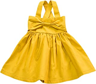 Baby Girls Cotton Soft Bow Jumper Dress Suspender Skirts Pinafore Dress